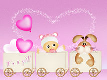 Baby birth announcement. Illustration of baby birth announcement Royalty Free Stock Images