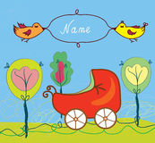 Baby birth card with pram and trees and frame. For name vector illustration
