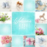 Baby birth collage. Baby shoes collage, baby boy birth card stock images