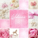 Baby birth collage. Baby shoes collage, baby girl birth cad stock photo