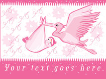 Baby birthday. Illustration of stork and baby birth .Eps8 version added royalty free illustration