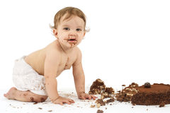 Baby and birthday cake Royalty Free Stock Photography