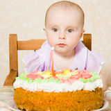 Baby with the birthday cake. Royalty Free Stock Photos