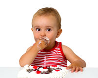 Baby with birthday cake Stock Photography