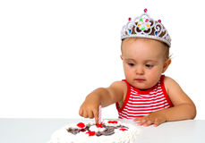 Baby with birthday cake Royalty Free Stock Photography