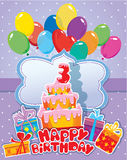 Baby birthday card with balloons, big cake and gift boxes. Three Stock Photography