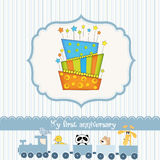 Baby birthday card with cake. Cute baby birthday card with cake Stock Images