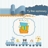 Baby birthday card with cake. In  format Stock Image