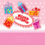 Baby birthday card with gift boxes Stock Photo