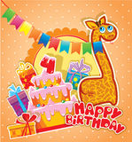 Baby birthday card with girafe, big cake and gift boxes. Four years anniversary Royalty Free Stock Photography