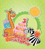 Baby birthday card with girafe and zebra, big cake. And gift boxes. Five years anniversary Stock Images