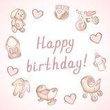 Baby birthday card, shower card, poster, template. Cute vector illustrations. Set of baby toys, feeding and care. Baby girl birthday card, shower card, poster stock illustration