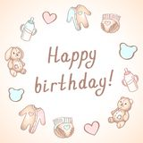 Baby birthday card, shower card, poster, template. Cute vector illustrations. Set of baby toys, feeding and care. stock illustration