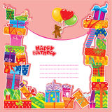 Baby birthday card with teddy bear. And gift boxes Royalty Free Stock Photos