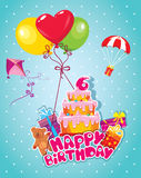 Baby birthday card with teddy bear, balloons Stock Images