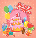 Baby birthday card with teddy bear, big cake and gift boxes. One year anniversary Royalty Free Stock Photos