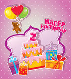 Baby birthday card with teddy bear, big cake and gift boxes. Royalty Free Stock Photography