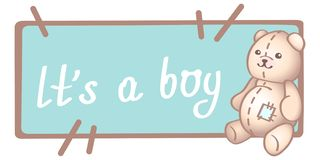 Baby birthday, invitation or greeting card, poster, template. Cute vector illustrations with a new born baby toy. It is a boy card. Baby boy birthday card