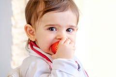 Baby bite strawberry newborn eat fruit.  stock images