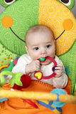 Baby biting rattle Royalty Free Stock Image