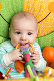 Baby biting rattle Stock Photography