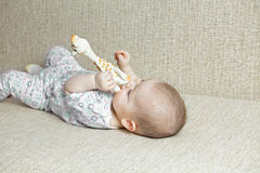 Baby biting toy giraffe Stock Image