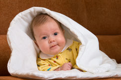Baby in blanket royalty free stock photo