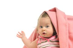 Baby blanket isolated. One happy Stock Photo