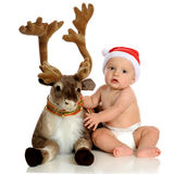 Baby with Blitzen Royalty Free Stock Image