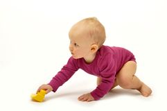 Baby with block stock image