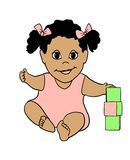 Baby with Blocks. A cute baby with blocks - blank for text Stock Photography