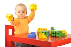 Baby with blocks Stock Photos