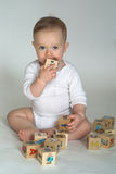 Baby Blocks. Image of cute baby playing with alphabet blocks stock images