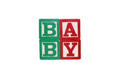 Toy Blocks Spell Baby - Isolated on White Stock Photo