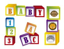 Baby blocks. With faces animals and letters. vector illustration royalty free illustration