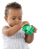Baby with blocks. Adorable baby girl playing with building blocks stock photo