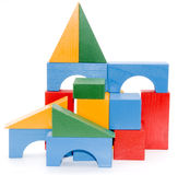 Baby blocks. Figure - wood color toys isolated stock photos