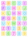 Baby blocks alphabet. Cute colorful baby blocks English alphabet and numbers collection isolated on white background. vector available Royalty Free Stock Photo