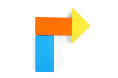 Baby blocks figure - arrow. See portfolio for more block figures royalty free stock photo