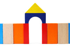Baby blocks figure - Gate. See portfolio for more block figures royalty free stock photos