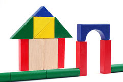 Baby blocks figure - Gate and house. See portfolio for more block figures royalty free stock images