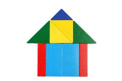 Baby blocks figure - house. See portfolio for more block figures royalty free stock photos