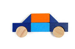 Baby blocks figure - private car. See portfolio for more block figures stock photo