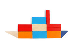 Baby blocks figure - ship. See portfolio for more block figures stock photos