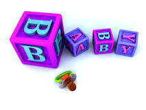 Baby blocks and pacifier Stock Photography