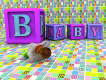 Baby blocks and pacifier Stock Images