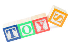 Baby blocks spelling toys. Isolated on white background Royalty Free Stock Photography