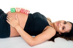 Baby Blocks On Stomach Stock Photos