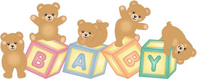 Baby blocks with teddy bear. Scalable vectorial image representing a baby blocks with teddy bear, isolated on white Stock Photo