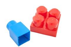 Baby blocks toys on white background Stock Photos